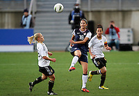 US's Yael Averbuch fights for the ball with Germany's Leonie Maier during their Algarve Women's Cup soccer match at Algarve stadium in Faro, March 13, 2013.  .Paulo Cordeiro/ISI