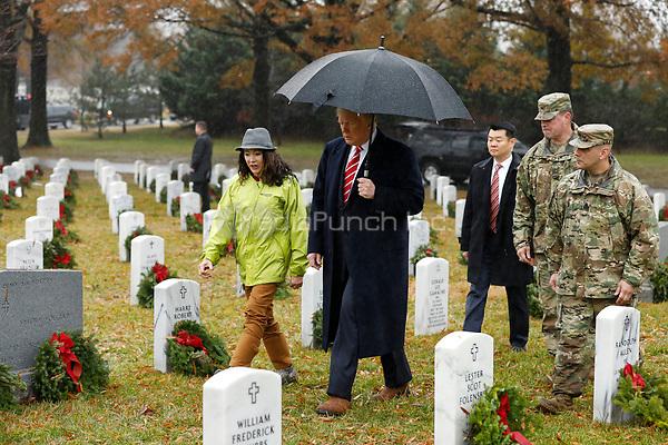 United States President Donald J. Trump visits Section 60 at Arlington National Cemetery in Arlington, Virginia on Saturday, December 15, 2018. <br /> Credit: Yuri Gripas / Pool via CNP /MediaPunch