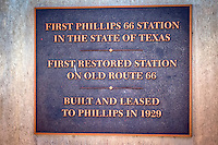 The restored Phillips 66 gas station in McLean Texas, was built in 1928, and is one of the most photographed icons of Route 66. The property is now owned and maintained by the Texas Route 66 Association. This station was the site of the first Phillips 66 station outside of Oklahoma.