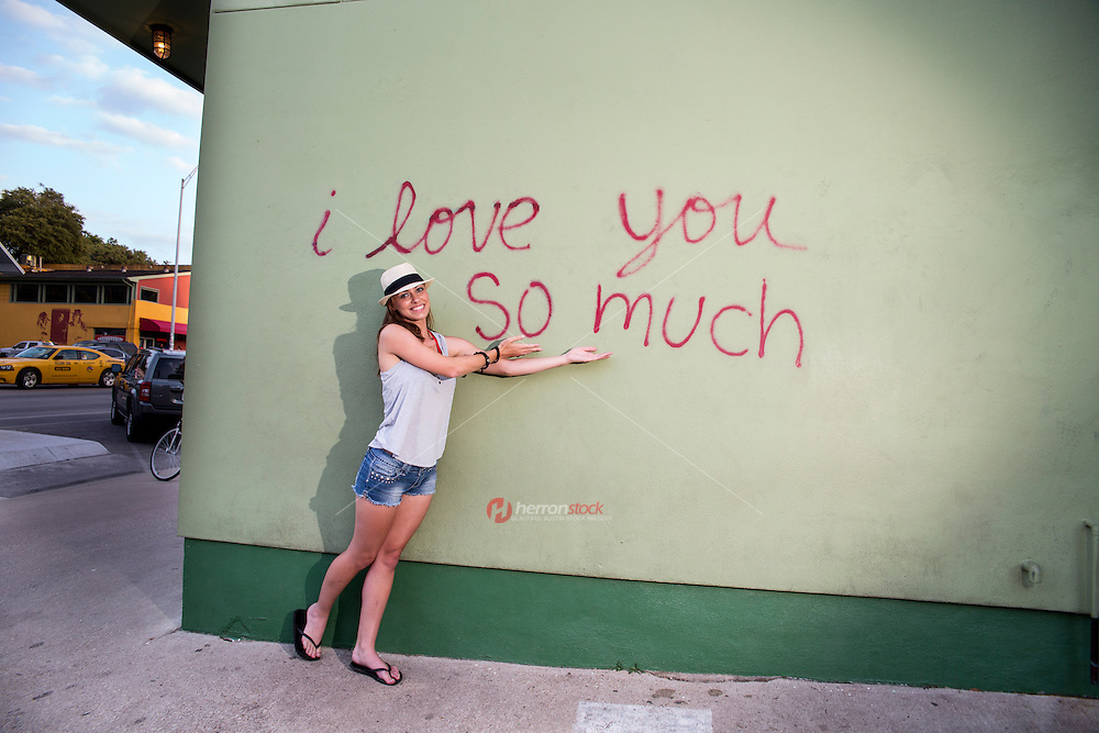 """The """"I love you so much"""" mural is a local favorite artistic mural on South Congress in Austin, Texas"""