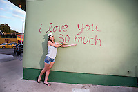 "The ""I love you so much"" mural is a local favorite artistic mural on South Congress in Austin, Texas"