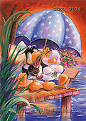 Ron, CUTE ANIMALS, Quacker, paintings, 2 ducks, umbrella(GBSG8104,#AC#) Enten, patos, illustrations, pinturas