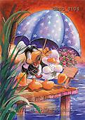 Ron, CUTE ANIMALS, Quacker, paintings, 2 ducks, umbrella(GBSG8104,#AC#) Enten, patos, illustrations, pinturas
