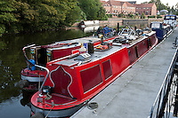 Two barges moored up on the River Trent
