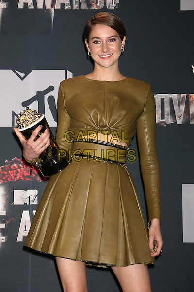 LOS ANGELES, CA - APRIL 13: Shailene Woodley in the press room at the 2014 MTV Movie Awards at Nokia Theatre L.A. Live on April 13, 2014 in Los Angeles, California. <br /> CAP/MPI/JO<br /> &copy;Janice Ogata/MPI/Capital Pictures