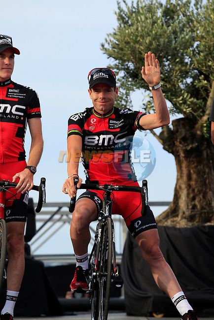 BMC Racing Team led by Cadel Evans (AUS) at the Team Presentation ceremony held in Porto Vecchio, Corsica, France.<br /> 27th June 2013. <br /> (Photo:Eoin Clarke/www.newsfile.ie)