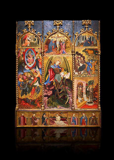 Gothic altarpiece tableau of the Archangel Gabriel  by Joan Mates of Vlafranca de Penedes, circa 1410-1430, tempera and gold leaf on for wood from the church of Santa Maria de Penafel, Alt Penedes, Spain.  National Museum of Catalan Art, Barcelona, Spain, inv no: MNAC  214533. Against a black background.