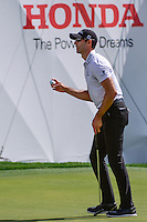 Cameron Tringale (USA) after sinking a par putt on 16 during round 1 of the Honda Classic, PGA National, Palm Beach Gardens, West Palm Beach, Florida, USA. 2/23/2017.<br /> Picture: Golffile | Ken Murray<br /> <br /> <br /> All photo usage must carry mandatory copyright credit (&copy; Golffile | Ken Murray)