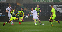Pictured: Oliver McBurnie of Swansea City (C) crosses the ball Monday 15 May 2017<br /> Re: Premier League Cup Final, Swansea City FC U23 v Reading U23 at the Liberty Stadium, Wales, UK