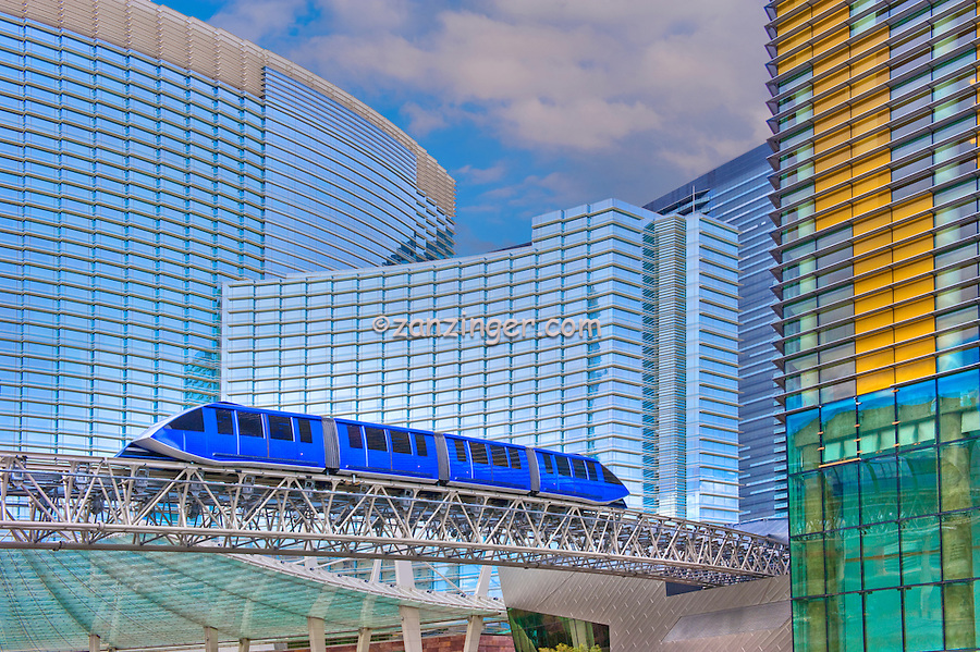 ARIA, Vdara, Hotels & Casinos, Veer Tower, Blue Elevated Train, Las Vegas; Nevada;  CityCenter,