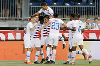 Chester, PA - Monday May 28, 2018: Josh Sargent scores and celebrates his goal  during an international friendly match between the men's national teams of the United States (USA) and Bolivia (BOL) at Talen Energy Stadium.