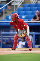 Palm Beach Cardinals catcher Jose Gonzalez (38) during the first game of a doubleheader against the Dunedin Blue Jays on July 31, 2015 at Florida Auto Exchange Stadium in Dunedin, Florida.  Dunedin defeated Palm Beach 7-0.  (Mike Janes/Four Seam Images)