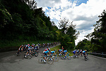 The peleton descend during Stage 14 of the 2018 Giro d'Italia, running 186km from San Vito al Tagliamento to Monte Zoncolan features Europe's hardest climb, Italy. 19th May 2018.<br /> Picture: LaPresse/Fabio Ferrari | Cyclefile<br /> <br /> <br /> All photos usage must carry mandatory copyright credit (&copy; Cyclefile | LaPresse/Fabio Ferrari)