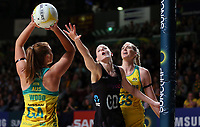 11.10.2017 Silver Ferns Katrina Grant in action during the Constellation Cup netball match between the Silver Ferns and Australia at Titanium Security Arena in Adelaide. Mandatory Photo Credit ©Michael Bradley.