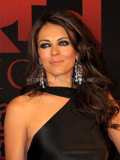WWW.ACEPIXS.COM . . . . .  ..... . . . . US SALES ONLY . . . . .....November 8 2010, London....Liz Hurley at the 'Red Night' dinner at Old Billingsgate on November 8 2010 in London....Please byline: FAMOUS-ACE PICTURES... . . . .  ....Ace Pictures, Inc:  ..Tel: (212) 243-8787..e-mail: info@acepixs.com..web: http://www.acepixs.com