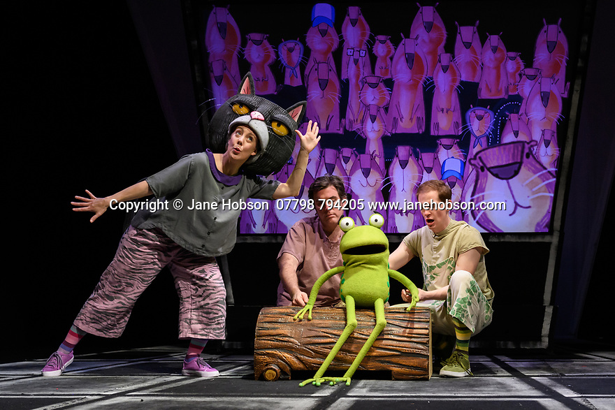 "London, UK. 05.12.2019. Kenny Wax Family Entertainment presents ""Oi Frog & Friends!"" at the Lyric Theatre, Shaftesbury Avenue, from 29th November 2019 to 5th January 2020. Based on the books by Kes Gray & Jim Field, it is created for the stage by director, Emma Earle and desinger Zoe Squire (co-artistic directors of Pins and Needles Productions), with puppet design by Yvonne Stone and lighting design by Ric Mountjoy. The cast is: John Winchester (Frog), Lucy Tuck (Cat), Darren Seed (Dog) and Simon Yadoo (Gnu). Photograph © Jane Hobson."