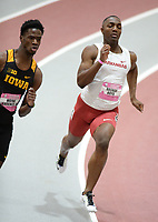NWA Democrat-Gazette/ANDY SHUPE<br /> Arkansas' Rashad Boyd competes Saturday, Feb. 9, 2019, in the 200 meters during the Tyson Invitational in the Randal Tyson Track Center in Fayetteville. Visit nwadg.com/photos to see more photographs from the meet.