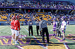 UAlbany Men's Lacrosse defeats Stony Brook on March 31 at Casey Stadium.  Pregame coin toss.  Albany captain Connor Fields not dressed due to inury (grey warmups).