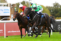 Winner of The Byerley Stud EBF Fillies' Novice Stakes  Caiya(green) ridden by Charles Bishop and trained by Eve Johnson Houghton during Bathwick Tyres Reduced Admission Race Day at Salisbury Racecourse on 9th October 2017