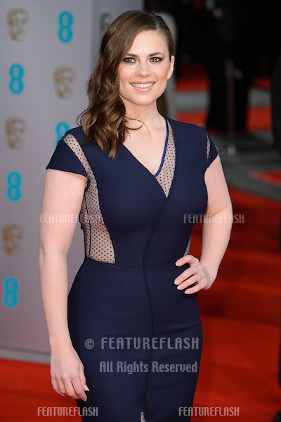 Hayley Atwell arrives for the BAFTA Film Awards 2015 at the Royal Opera House, London. 08/02/2015 Picture by: Steve Vas / Featureflash
