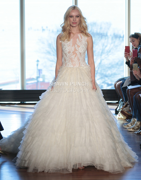 "Model Milou walks runway in a ""Bonnie"" bridal gown from the Rivini Spring Summer 2017 bridal collection by Rita Vinieris at The Standard Highline Room, during New York Bridal Fashion Week on April 15, 2016."