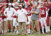 Hawgs Illustrated/BEN GOFF <br /> Mark Smith (from left), Ron Cooper, secondary coaches, and John Chavis, defensive coordinator, watch in the second quarter Saturday, April 6, 2019, during the Arkansas Red-White game at Reynolds Razorback Stadium.
