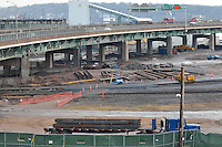Pearl Harbor Memorial Bridge Foundation and NB West Approach Construction. Part of the I-95 New Haven Corridor  Harbor Crossing Improvement Program. First Progress Photography Capture, Contract B1, Project 92-618.