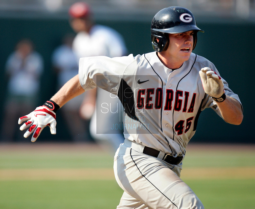 Georgia catcher Jason Jacobs runs to first on a bunt in the fifth inning against South Carolina in Game 2 of the NCAA Athens Super Regional on Sunday, June 11, 2006.  Georgia won 11-5.