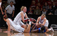 Stanford, CA., March 24, 2013-- Stanford's Joslyn Tinkle, Taylor Greenfield Mikaela Ruef scramble for a lose ball during Sunday, March 24, 2013, first round 2013 NCAA Division I Women Basketball game against Tulsa. Stanford won the game 72-56. ( Norbert von der Groeben / ISI Photo )