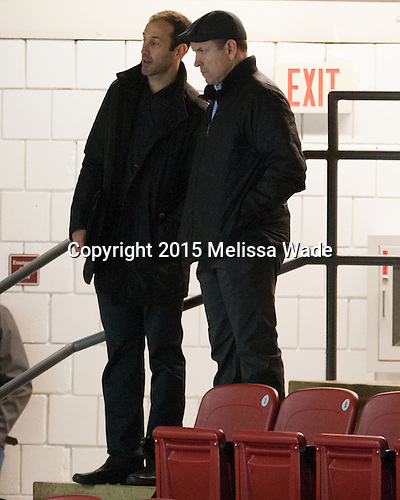 Former Boston University Terrier Jay Pandolfo (left) was among the NHL personnel in attendance. - The Harvard University Crimson defeated the Dartmouth College Big Green 5-2 to sweep their weekend series on Sunday, November 1, 2015, at Bright-Landry Hockey Center in Boston, Massachusetts.