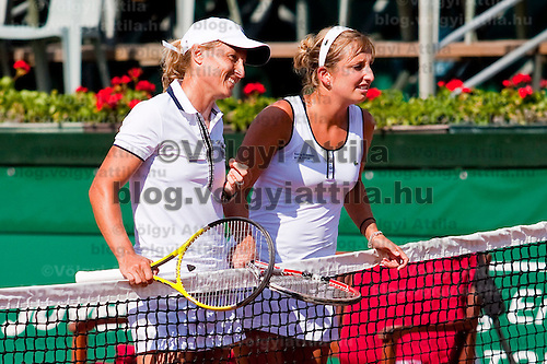 Timea Bacsinszky (SUI) and Tathiana Garbin (RUS) during the Gaz de France Suez WTA tour Grand Prix international women tennis competition held at Roman Tennis Academy in Budapest, Hungary. Tuesday, 06. July 2010. ATTILA VOLGYI