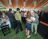 """Warrington """"Warry"""" MacElroy '60<br /> Fifty Year Club luncheon on Bell Field.<br /> Occidental College alums enjoy a long weekend of activities and festivities both on campus and off during Alumni Reunion Weekend, June 23, 2013.<br /> (Photo by Marc Campos, Occidental College Photographer)"""