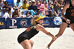 GULF SHORES, AL - MAY 07: Nicolette Martin (35) of the University of Southern California hits a return against Pepperdine University during the Division I Women's Beach Volleyball Championship held at Gulf Place on May 7, 2017 in Gulf Shores, Alabama. (Photo by Stephen Nowland/NCAA Photos via Getty Images)