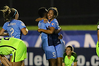 Piscataway, NJ - Saturday August 19, 2017: Maya Hayes, Dominique Richardson during a regular season National Women's Soccer League (NWSL) match between Sky Blue FC and the Seattle Reign FC at Yurcak Field.