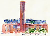 Watercolour painting of Tate Modern, London