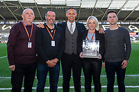 Lee Trundle with match ball sponsors during the Sky Bet Championship match between Swansea City and Derby County at the Liberty Stadium in Swansea, Wales, UK. Wednesday 01 May 2019