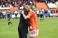 Blackpool's Manager Terry McPhillips and Blackpool's Jordan Thompson<br /> <br /> Photographer Rachel Holborn/CameraSport<br /> <br /> The EFL Sky Bet League One - Blackpool v Bradford City - Saturday September 8th 2018 - Bloomfield Road - Blackpool<br /> <br /> World Copyright &copy; 2018 CameraSport. All rights reserved. 43 Linden Ave. Countesthorpe. Leicester. England. LE8 5PG - Tel: +44 (0) 116 277 4147 - admin@camerasport.com - www.camerasport.com