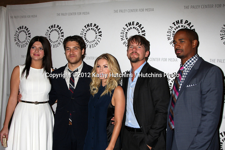 """LOS ANGELES - OCT 16:  Casey Wilson, Adam Pally, Elisha Cuthbert, Zachary Knighton and Damon Wayans Jr arrives at  An Evening With """"Happy Endings"""" And """"Don't Trust The B---- In Apartment 23"""" at Paley Center For Media on October 16, 2012 in Beverly Hills, CA"""