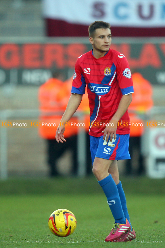 Lawson D'Ath of Dagenham and Redbridge - Dagenham and Redbridge vs Scunthorpe United, Sky Bet Football League football at the London Borough of Barking and Dagenham  Stadium - 25/01/14 - MANDATORY CREDIT: Dave Simpson/TGSPHOTO - Self billing applies where appropriate - 0845 094 6026 - contact@tgsphoto.co.uk - NO UNPAID USE