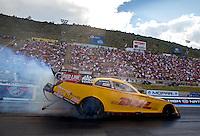 Jul. 18, 2014; Morrison, CO, USA; NHRA funny car driver Del Worsham during qualifying for the Mile High Nationals at Bandimere Speedway. Mandatory Credit: Mark J. Rebilas-