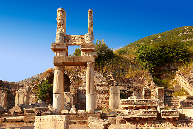 The entrance to the Temple of Emperor Domitian ( 81-96 AD) . Ephesus Archaeological Site, Anatolia, Turkey.