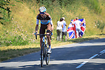 Romain Bardet (FRA) AG2R La Mondiale chasing back after a mechanical during Stage 9 of the 2018 Tour de France running 156.5km from Arras Citadelle to Roubaix, France. 15th July 2018. <br /> Picture: ASO/Pauline Ballet | Cyclefile<br /> All photos usage must carry mandatory copyright credit (© Cyclefile | ASO/Pauline Ballet)