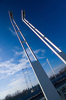 5 lamps on the Megyeri bridge, Budapest, Hungary, Europe