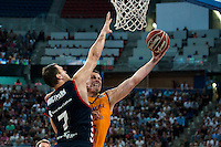 Baskonia's player Johannes Voigtmann and Herbalife Gran Canaria's player Darko Planinic during the match of the semifinals of Supercopa of La Liga Endesa Madrid. September 23, Spain. 2016. (ALTERPHOTOS/BorjaB.Hojas)