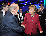 Minister for Finance Michael Noonan greets German Chancellor Angela Merkel at the EPP conference in the Dublin Conference Centre n Friday.<br /> Photo: Don MacMonagle<br /> <br /> Photo from EPP Group