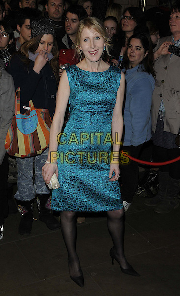 Fenella Woolgar.The Whatsonstage.com Theatregoers Choice Awards 2013 at the Palace Theatre, Shaftesbury Avenue, London, England..17th February 2013.full length blue turquoise sleeveless dress black tights pattern.CAP/CAN.©Can Nguyen/Capital Pictures.