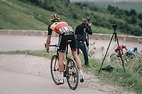 Oliver Naesen (BEL/AG2R-La Mondiale) having a super-flat in the descent of the Cormet de Roselend (1977m)<br /> <br /> Stage 7: Moûtiers > Saint-Gervais Mont Blanc (129km)<br /> 70th Critérium du Dauphiné 2018 (2.UWT)