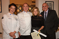 Melbourne, June 26, 2018 - Laura Skvor, Michael Cole, Karen Inge from Flinders Hotel and Tom Milligan pose for a photograph at a celebration event for Bocuse d'Or Australia team and their sponsors and supporters at Philippe Restaurant in Melbourne, Australia. Photo Sydney Low.