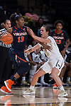 Gina Conti (5) of the Wake Forest Demon Deacons guards Jocelyn Willoughby (13) of the Virginia Cavaliers during first half action at the LJVM Coliseum on February 25, 2018 in Winston-Salem, North Carolina. The Cavaliers defeated the Demon Deacons 48-41. (Brian Westerholt/Sports On Film)