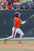 Designated hitter Tyler Krieger (3) of the Clemson Tigers bats in a game against the Wofford College Terriers on Tuesday, May 5, 2015, at Russell C. King Field in Spartanburg, South Carolina. Wofford won, 17-9. (Tom Priddy/Four Seam Images)